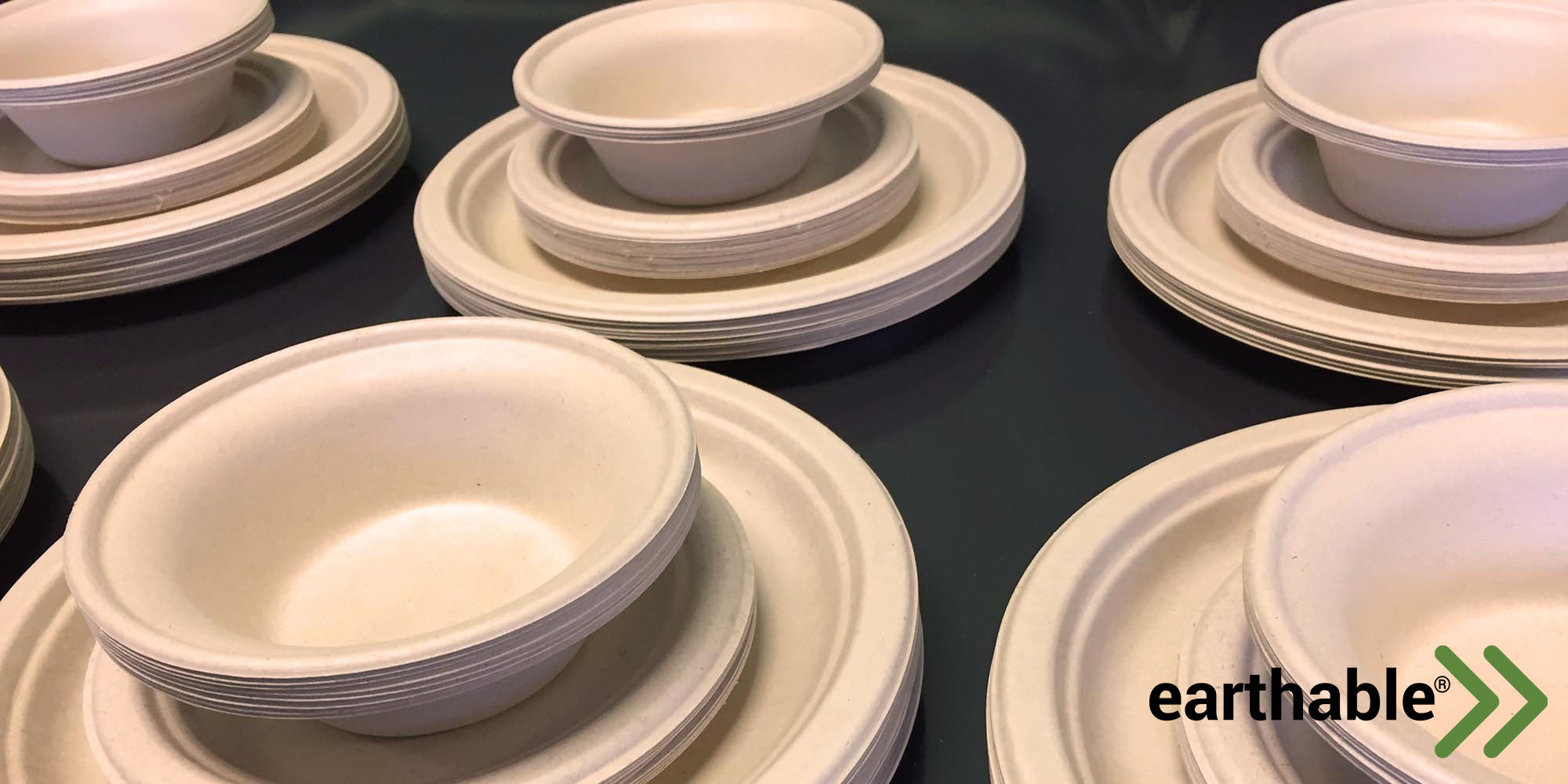 A photo of molded plates and bowls with an Earthable logo